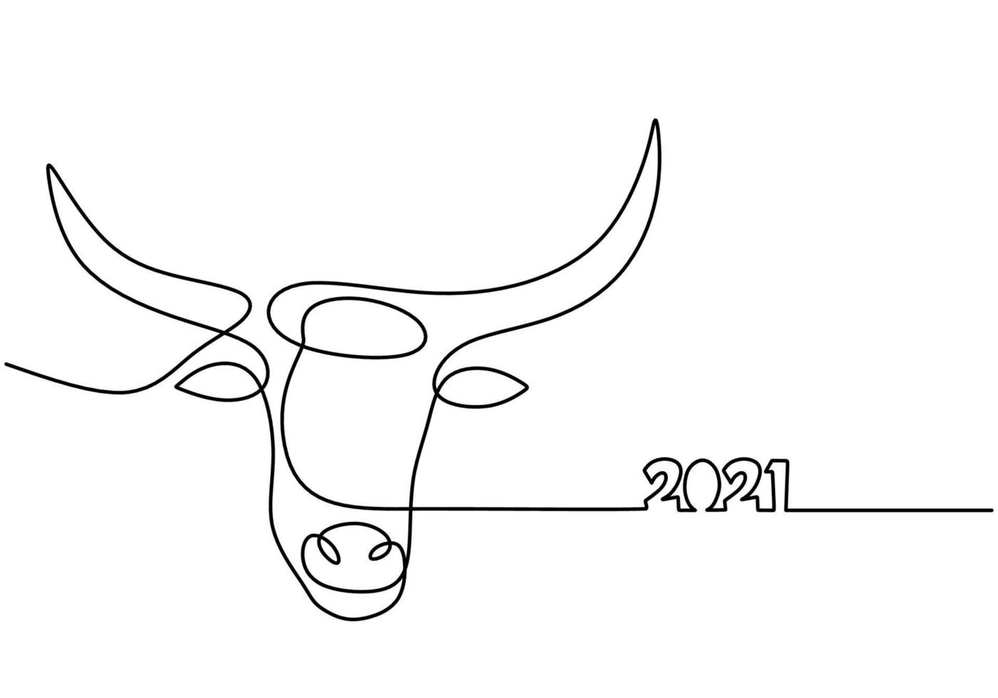 Bull continuous one line drawing. Symbol of the 2021 new year. The concept of strength, confidence and reliability isolated on white background. Happy ox Year simple minimalism design vector