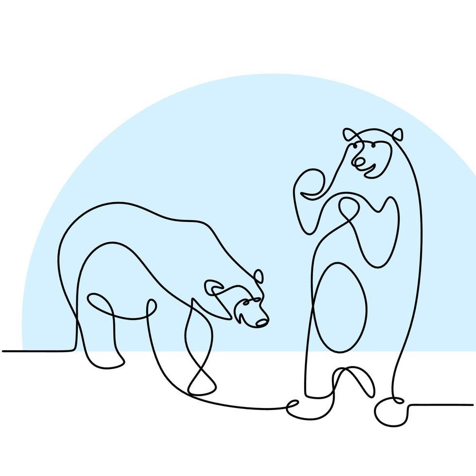 único dibujo continuo de una línea de dos osos panda en la tierra de hielo. un panda gigante en el bosque. Ilustración de vector de estilo minimalista dibujado a mano de concepto de mascota de animales salvajes de invierno.