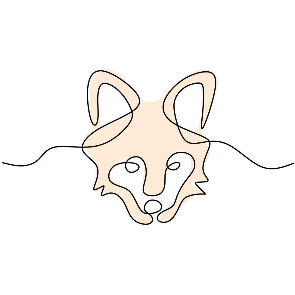 un dibujo de una sola línea de peligrosa cabeza de lobo. animal salvaje en un invierno aislado sobre fondo blanco. concepto de mascota de lobos fuertes para el estilo minimalista del icono del zoológico nacional. ilustración vectorial vector