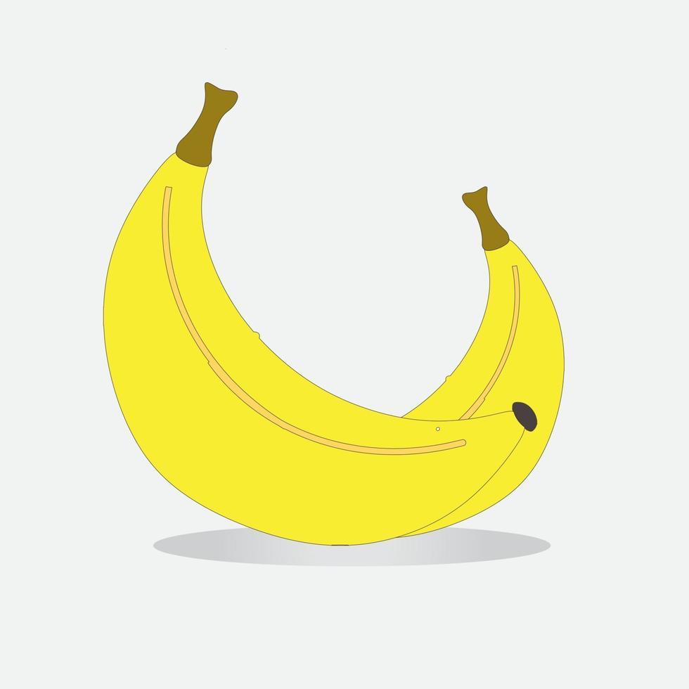 plátano amarillo sobre un fondo blanco aislado. vector