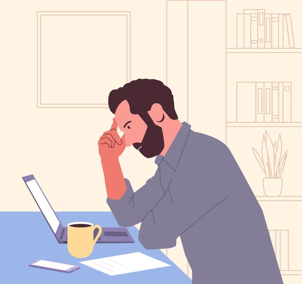 quiebra, agotamiento, colapso, concepto de negocio. Hombre de negocios joven frustrado cansado en estrés psicológico al final del día en la oficina. problemas, casos sin resolver. lluvia de ideas. vector