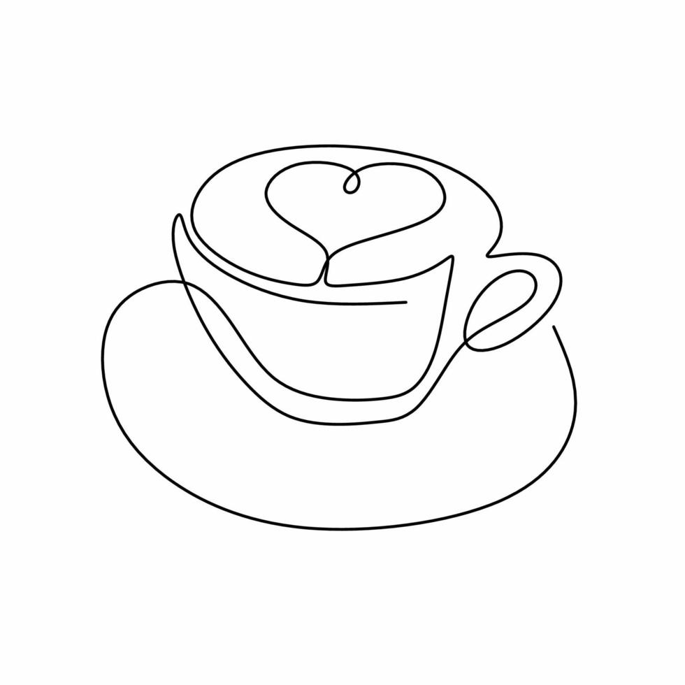 Continuous one line art drawing of coffee, warm. A cup of coffee with love  sign isolated on white background. Coffees cup shop concept. Coffee addict.  Minimalism design. Vector illustration 2099945 Vector Art