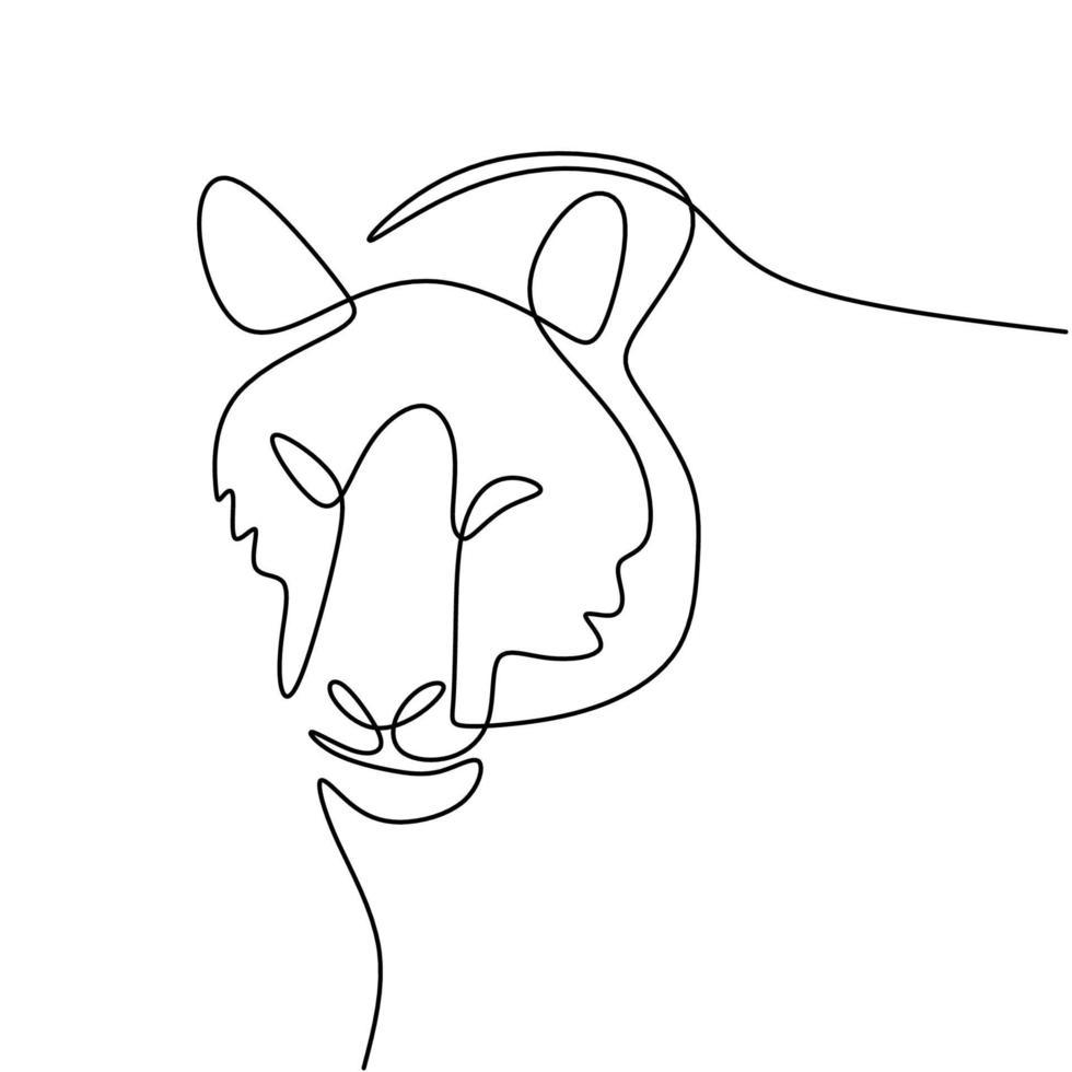 tigre dibujo de una línea aislado sobre fondo blanco. tigre animal salvaje está caminando en la jungla. concepto de vida salvaje. diseño animal de contorno minimalista. ilustración de dibujo vectorial vector