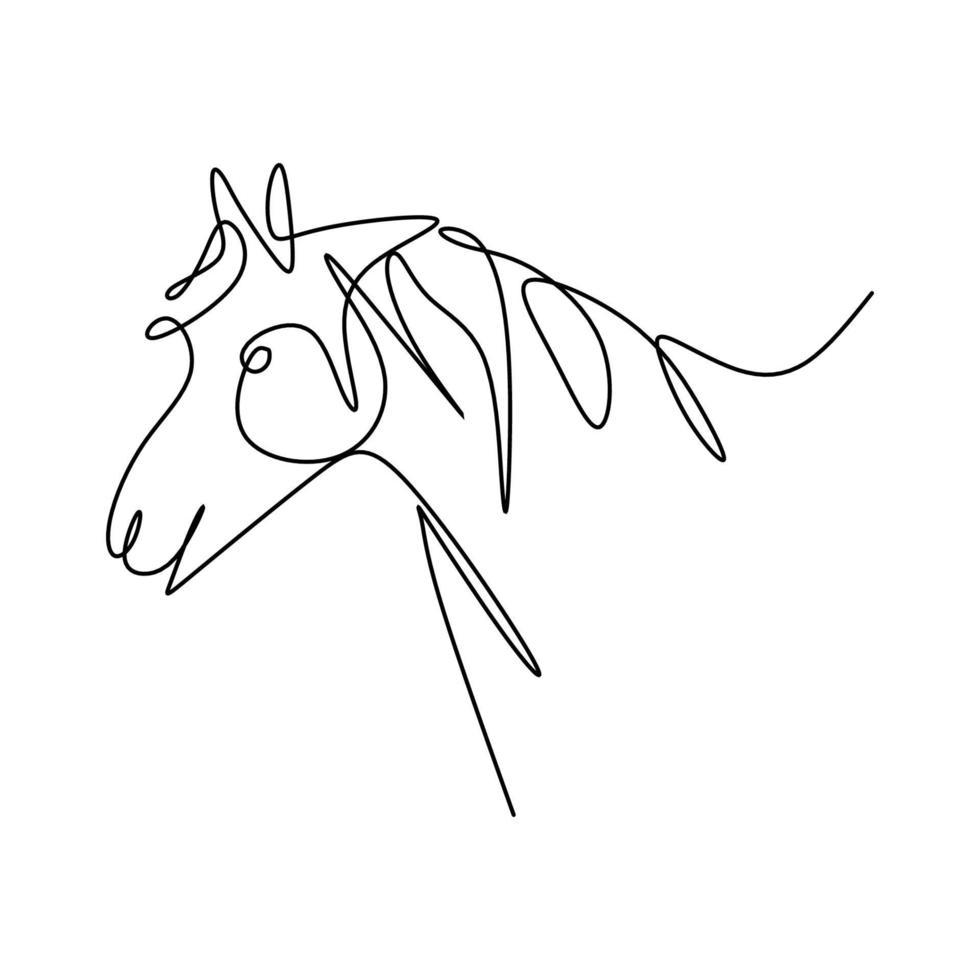 arte de dibujo a mano de caballo de una línea. caballo salvaje de pie para logotipo, tarjeta, pancarta, póster, folleto aislado sobre fondo blanco. elegancia diseño minimalista animal mamífero. ilustración vectorial vector