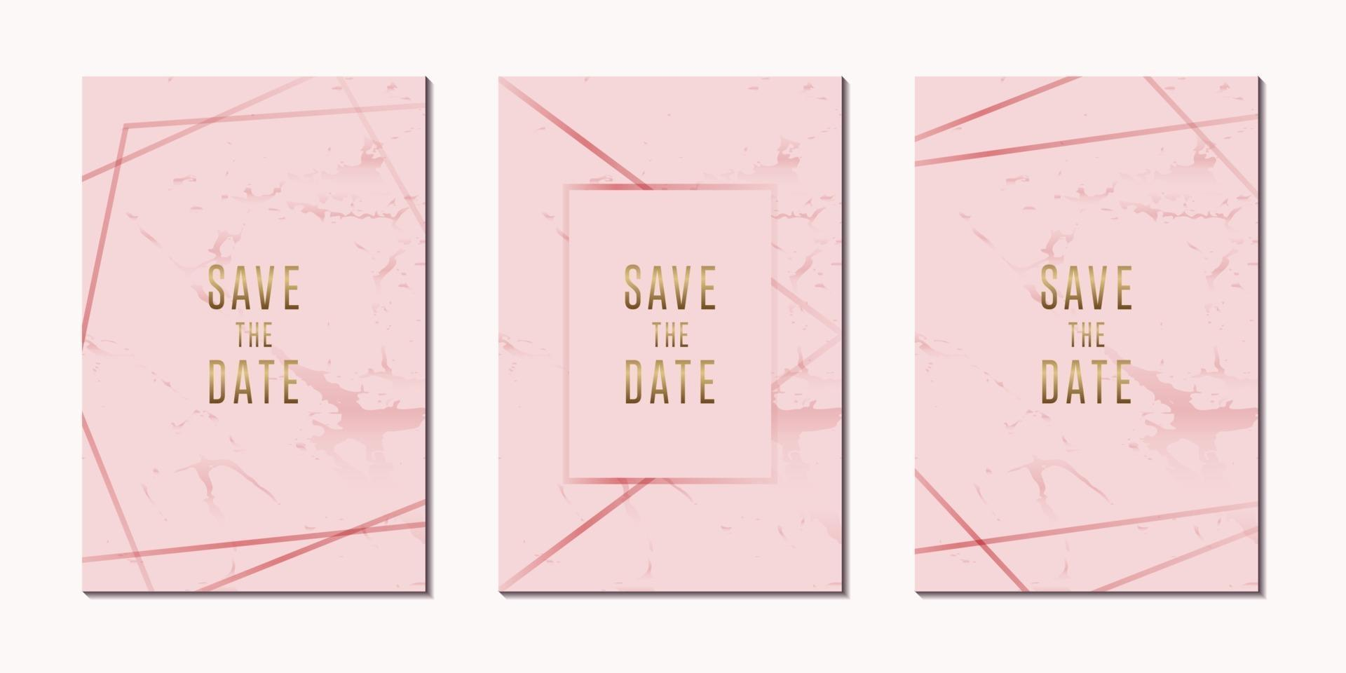 invitation card luxury rose gold with frame vector design template