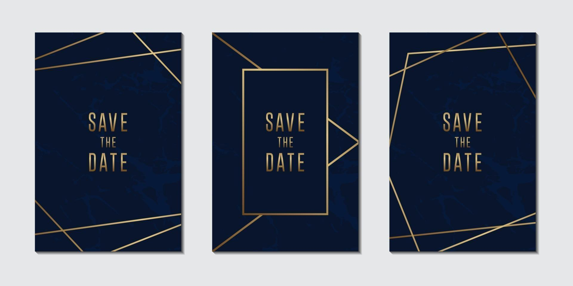 Wedding invitation card collection with luxury Blue and golden marble texture background vector