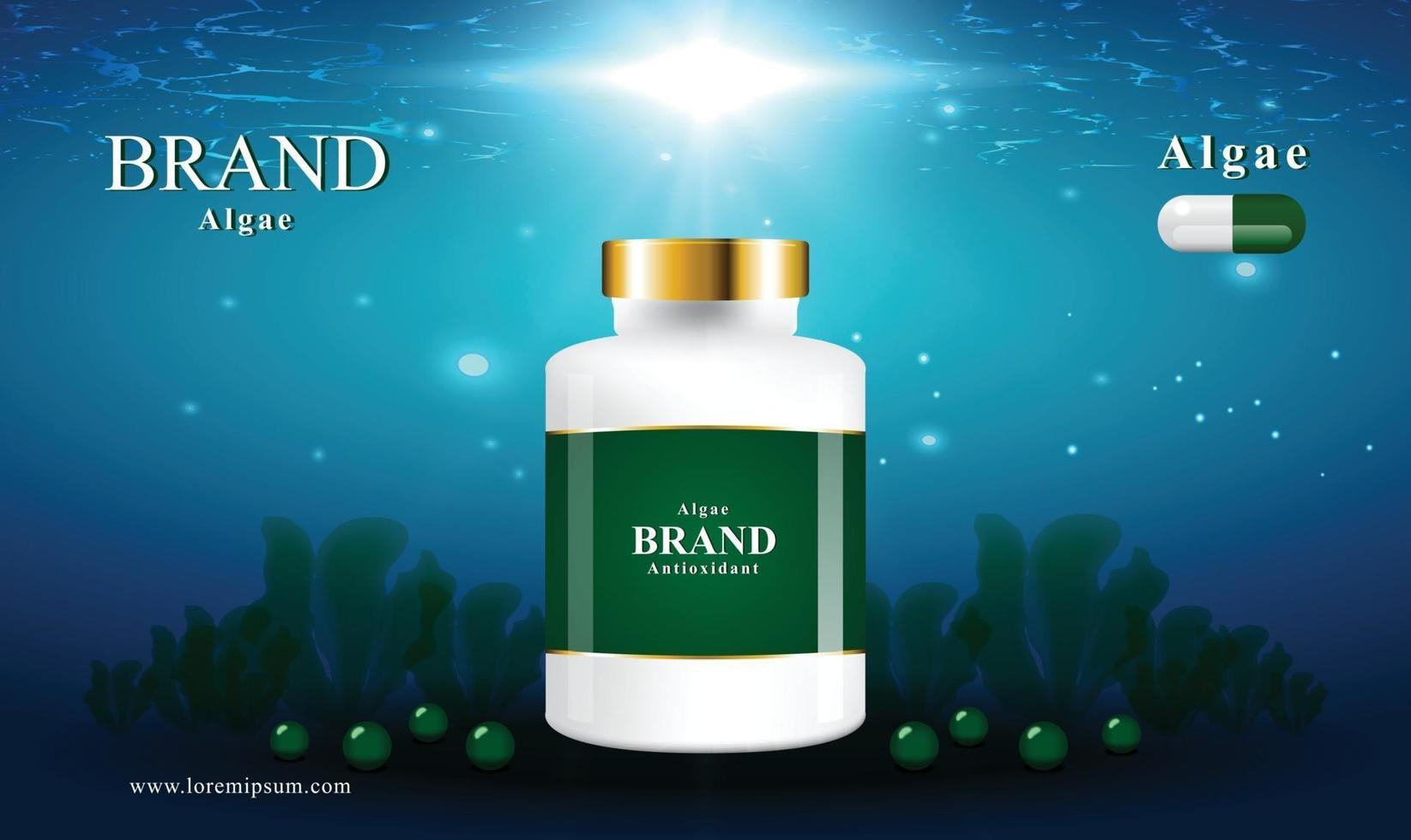 Background images of the ocean and algae for nutritional supplements and cosmetics with capsules vector