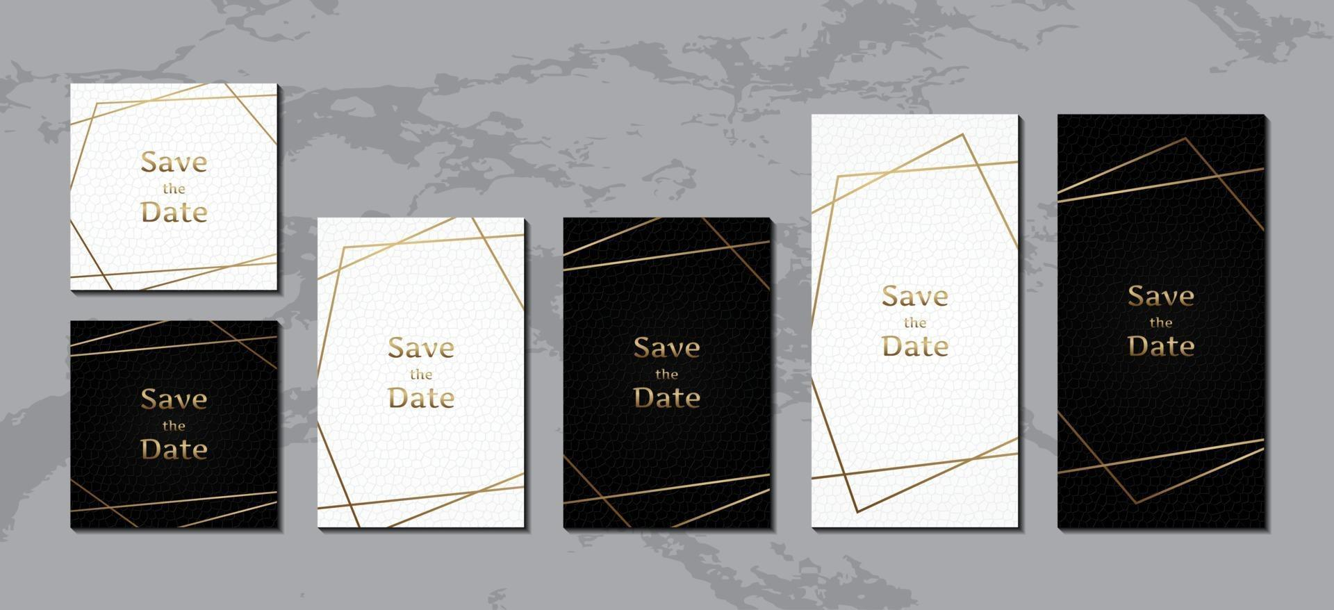 Wedding invitation card, luxury black and white leather with gold frame vector
