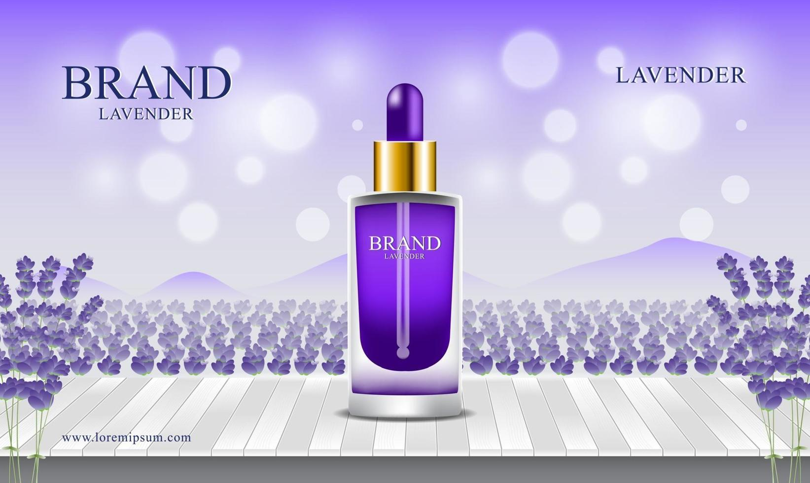 Lavender fields and wooden floors background  for cosmetics and perfume natural product illustration vector