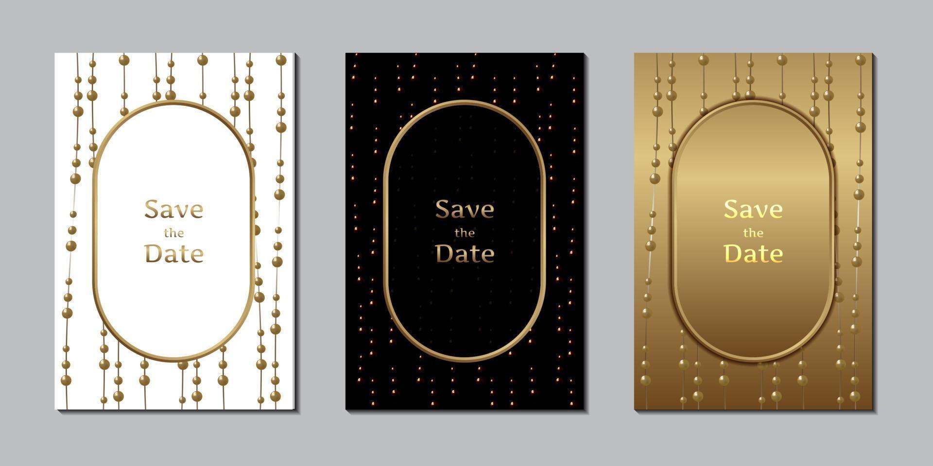 Wedding invitation card elegant pearl and gold design template vector