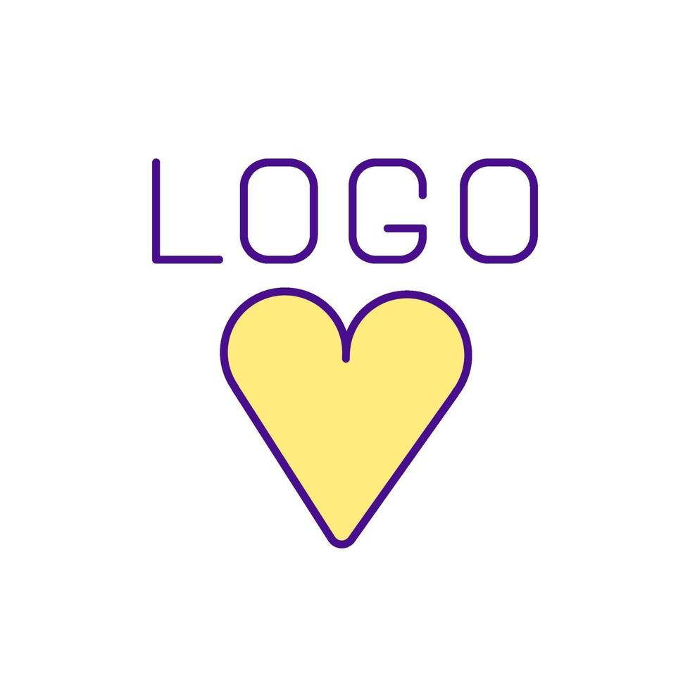 Signo de corazón con el icono de color del logotipo de inscripción vector