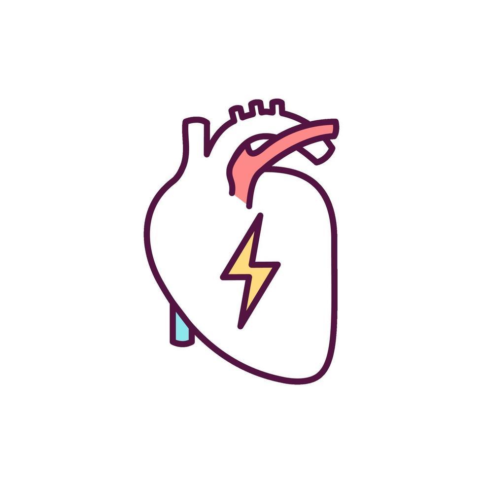 Icono de color de diagnóstico de enfermedad cardíaca vector