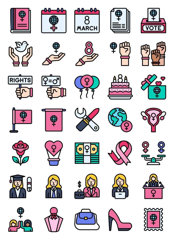 International Women's Day related filled icon set vector