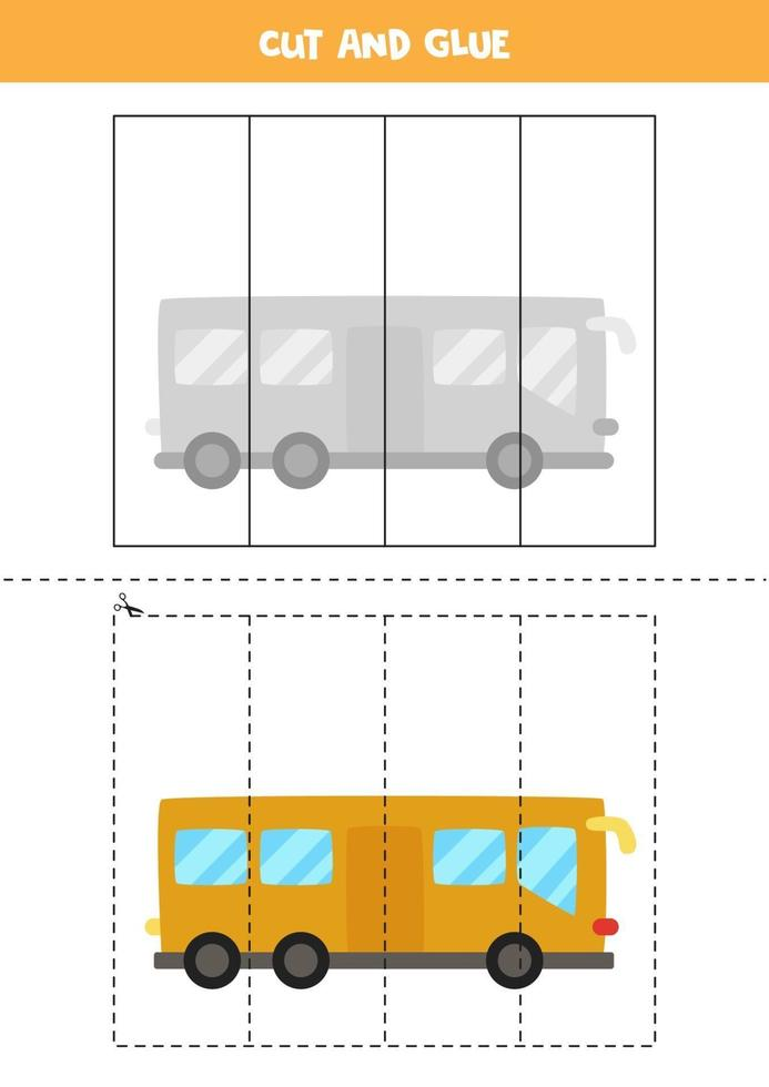 Cut and glue game for kids. Cartoon bus. vector