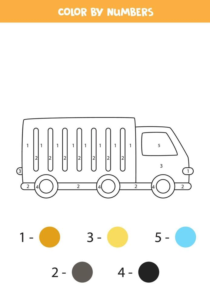 camión de dibujos animados de color por números. hoja de trabajo de transporte. vector
