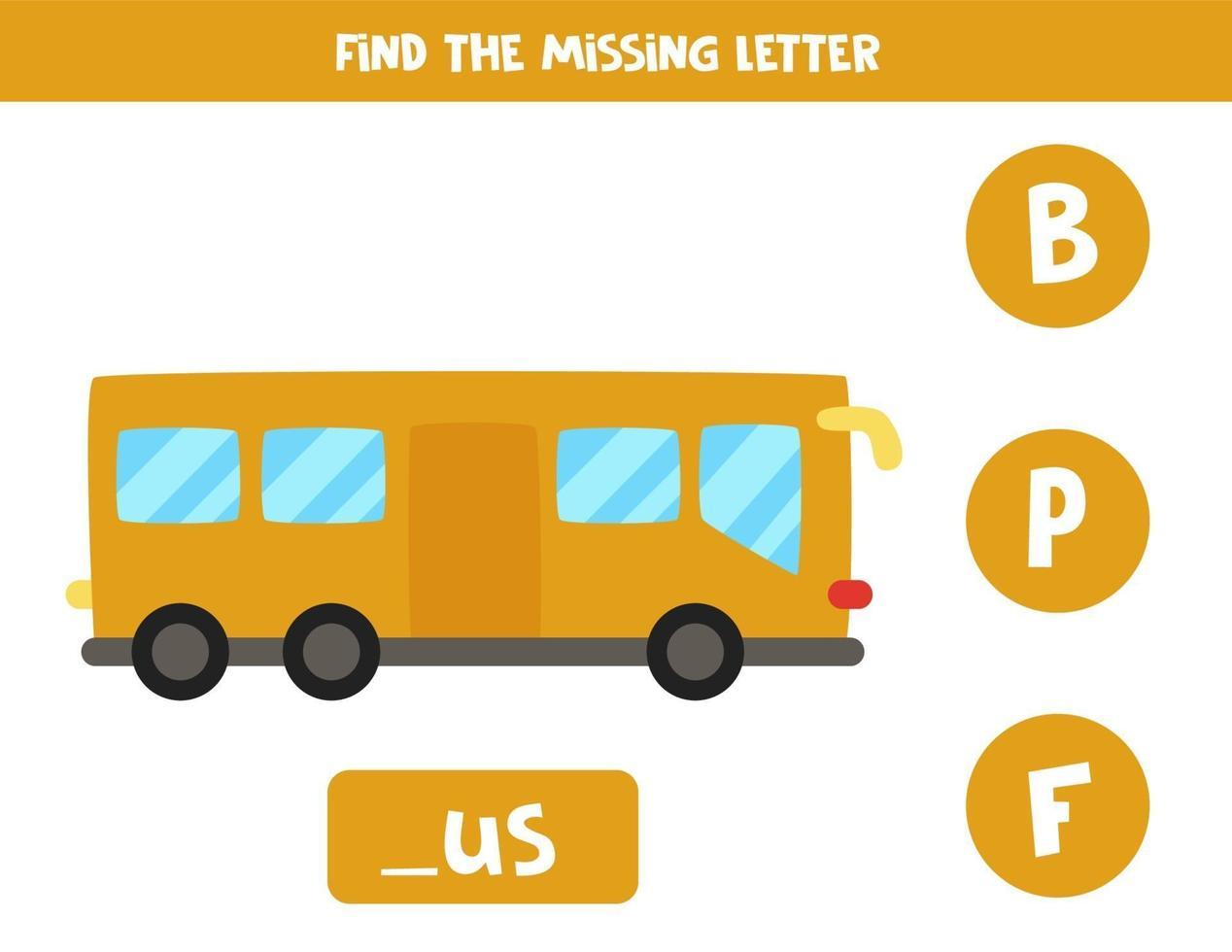 encuentra la letra que falta con el autobús de dibujos animados. hoja de trabajo de ortografía. vector