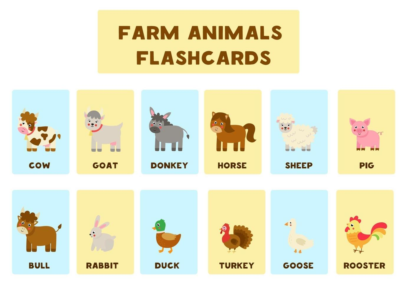 Farm animals with names. Flash cards for kids. vector