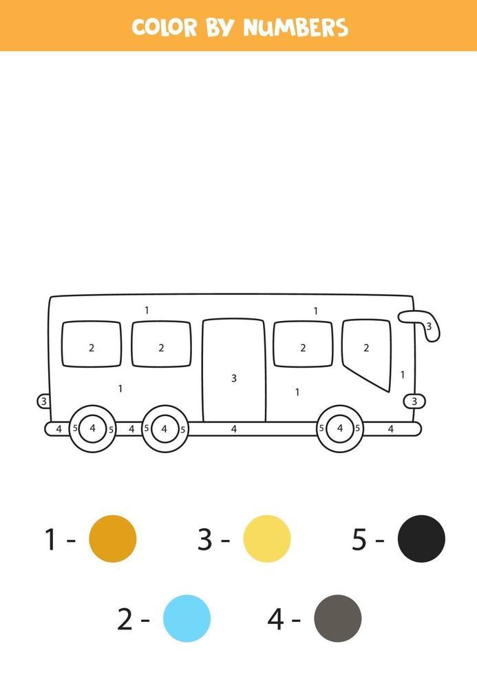 autobús urbano de dibujos animados en color por números. hoja de trabajo de transporte. vector