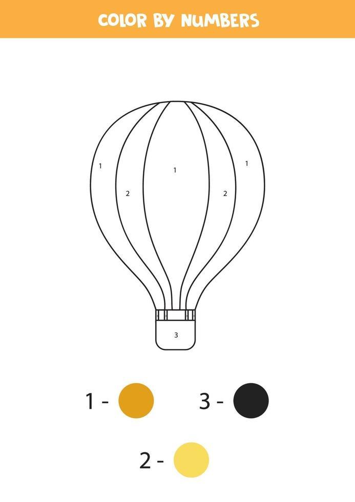 Globo de aire de dibujos animados de color por números. hoja de trabajo de transporte. vector