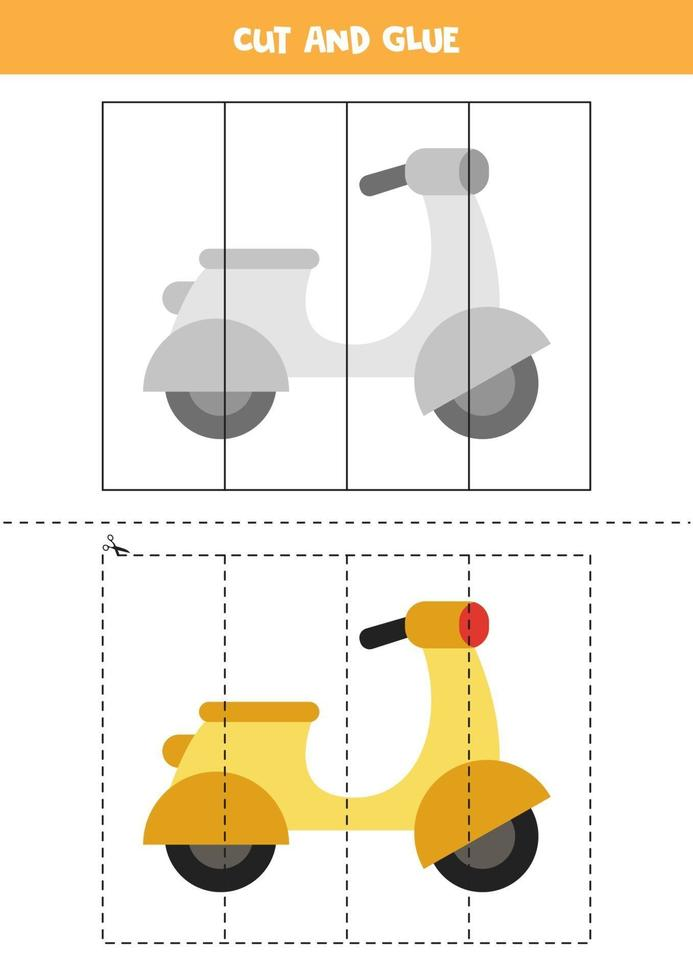 Cut and glue game for kids. Cartoon moped. vector