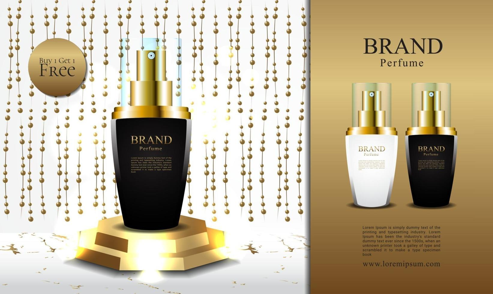 Banner luxury perfume promotion buy 1 get 1 with 3d packaging illustration vector