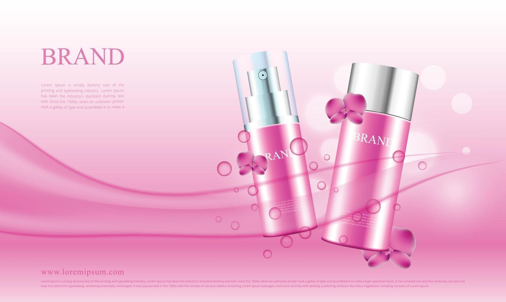 Advertising of cosmetic products with orchids and water flow vector illustration
