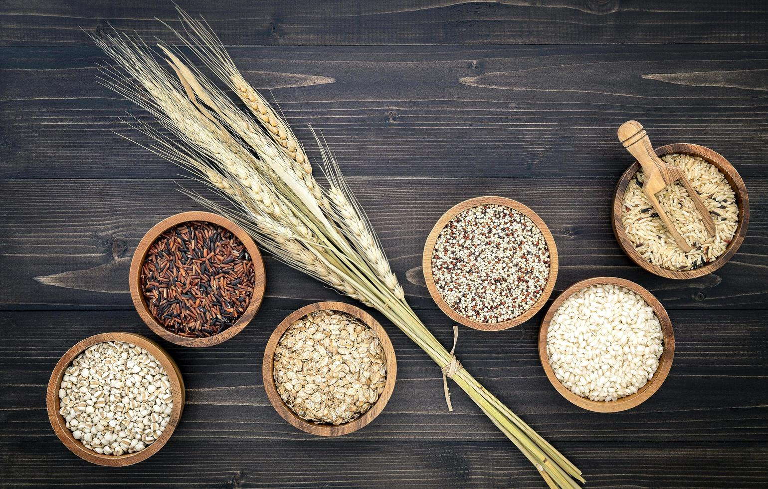 Bowls of assorted grains photo