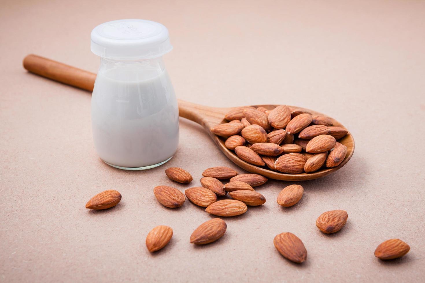 Almond milk in a bottle photo