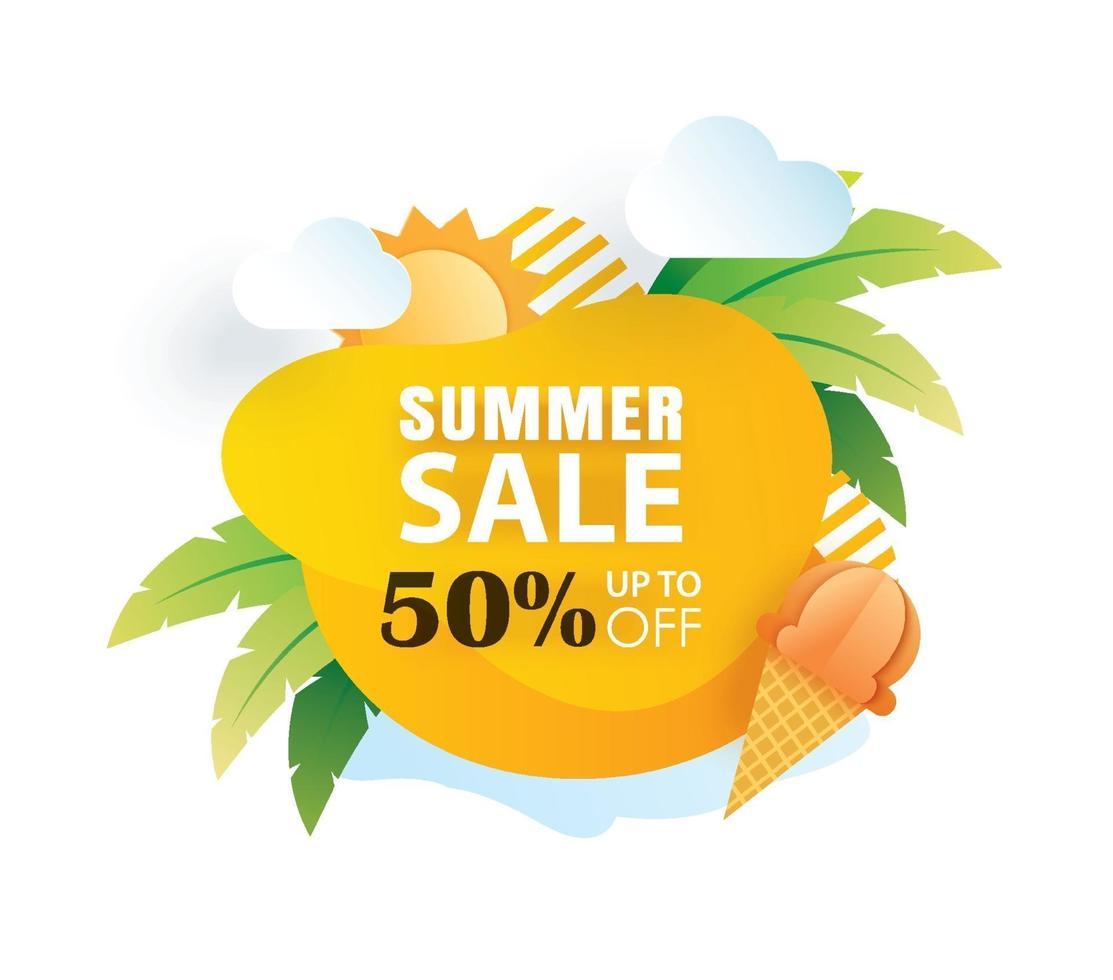 Summer sale banner paper cut template vector