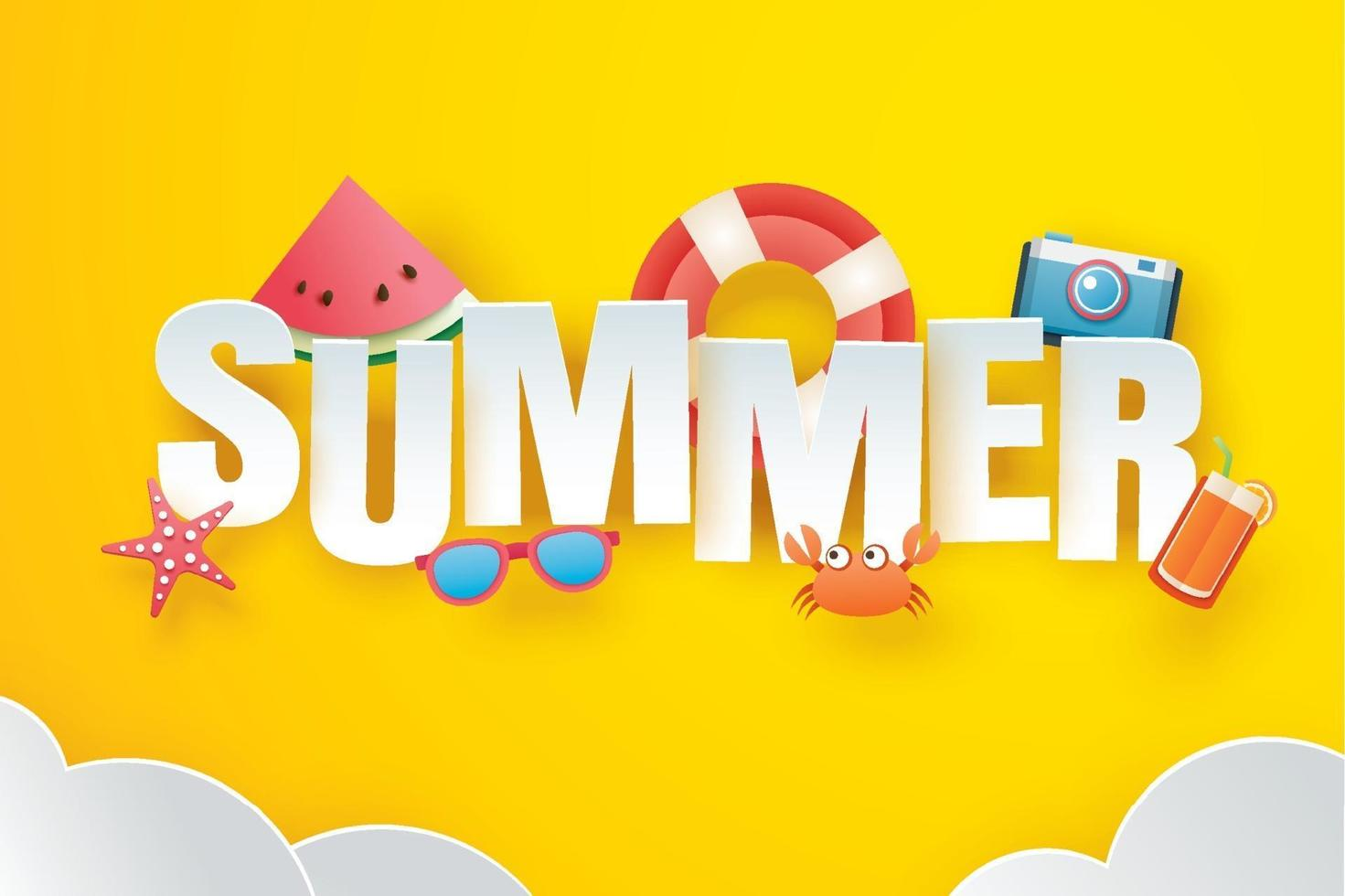 Hello summer with decoration origami on the sky yellow background vector