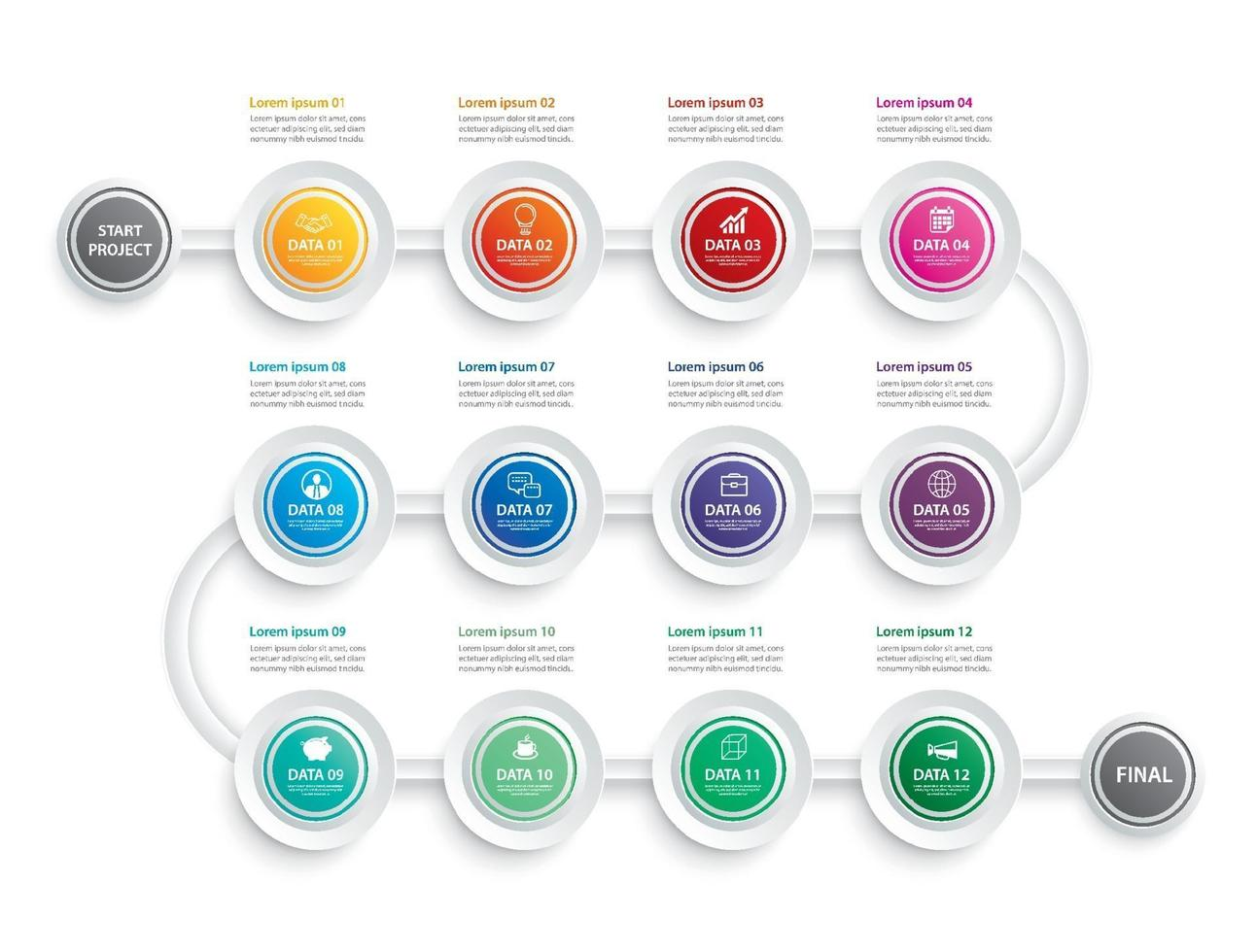 Infographic timeline 1 year or 12 month data template business concept set vector