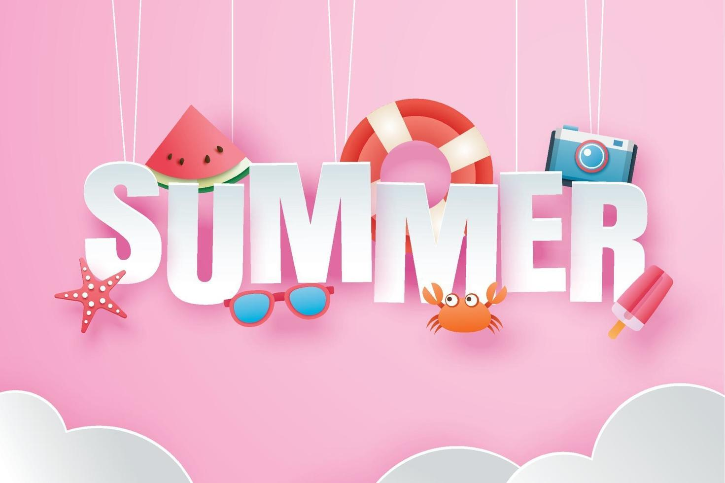 Hello summer with decoration origami hanging on pink sky background vector