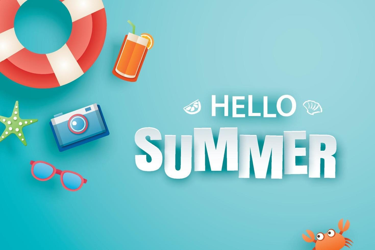 Hello summer with decoration origami on blue background vector