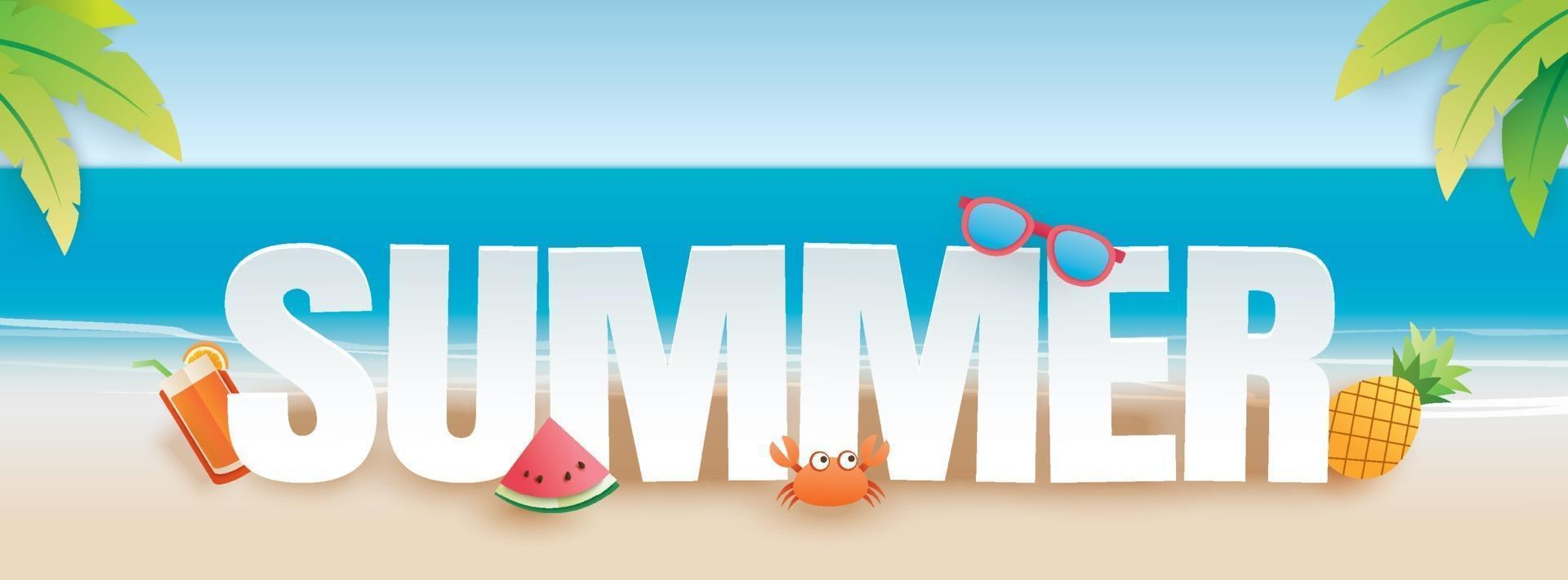 Summer party invitation banner with decoration origami vector
