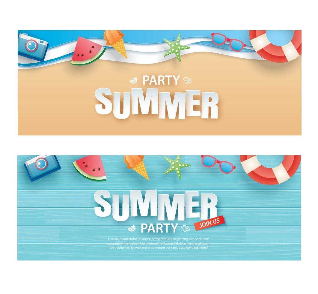 Summer party invitation banner set vector