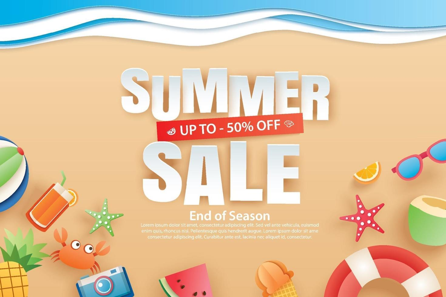 Summer sale with decoration origami on beach background vector