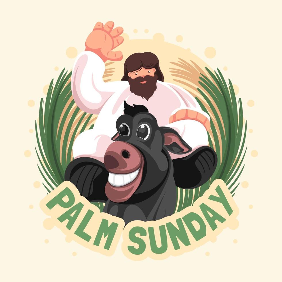 Flat Palm Sunday with Jesus and Donkey vector