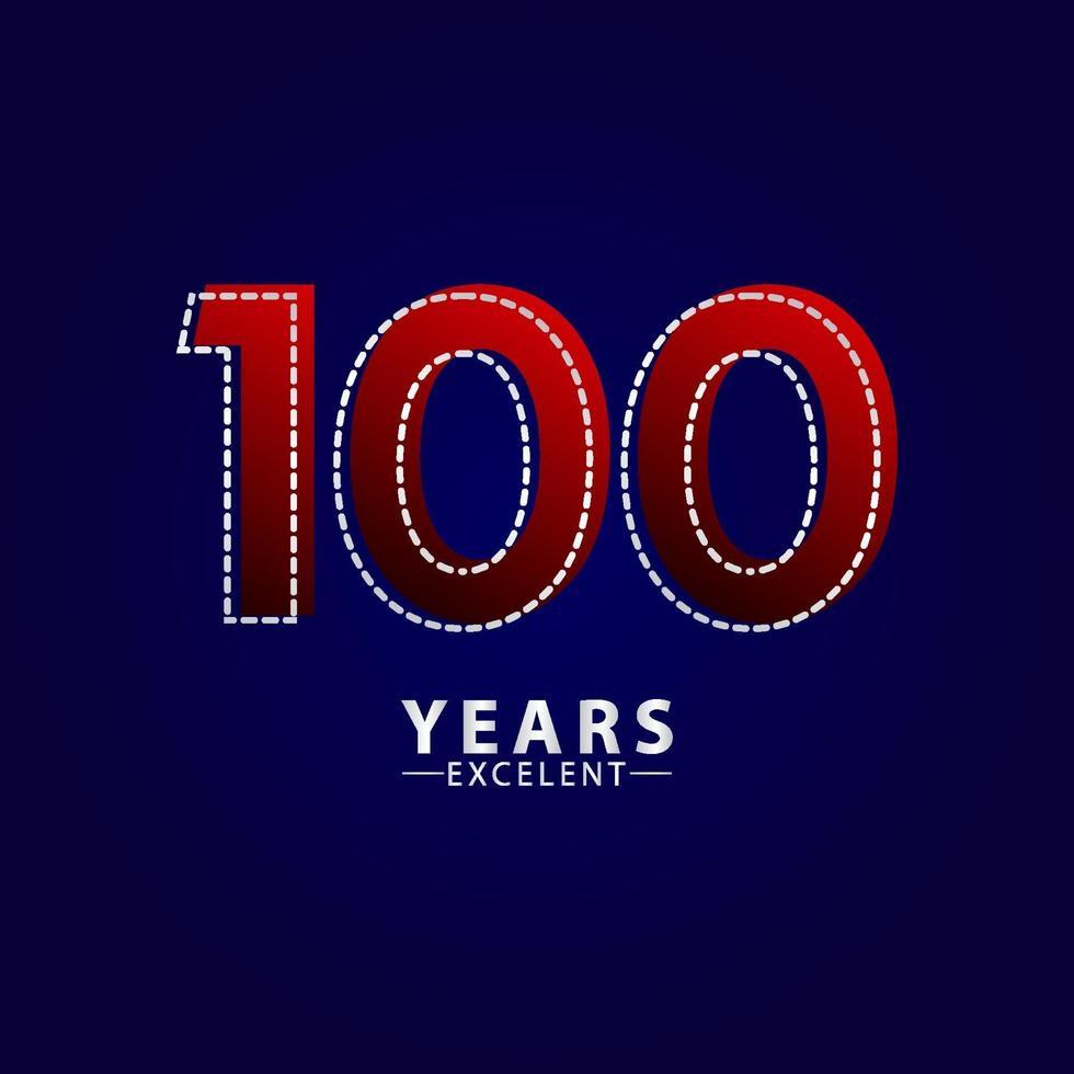 100 años excelente celebración de aniversario ilustración de diseño de plantilla de vector de línea de trazo rojo