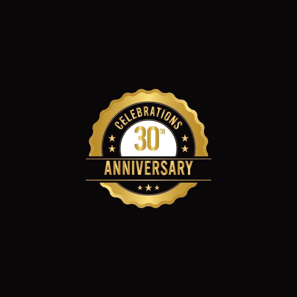Ilustración de diseño de plantilla de vector de oro de celebraciones de 30 aniversario