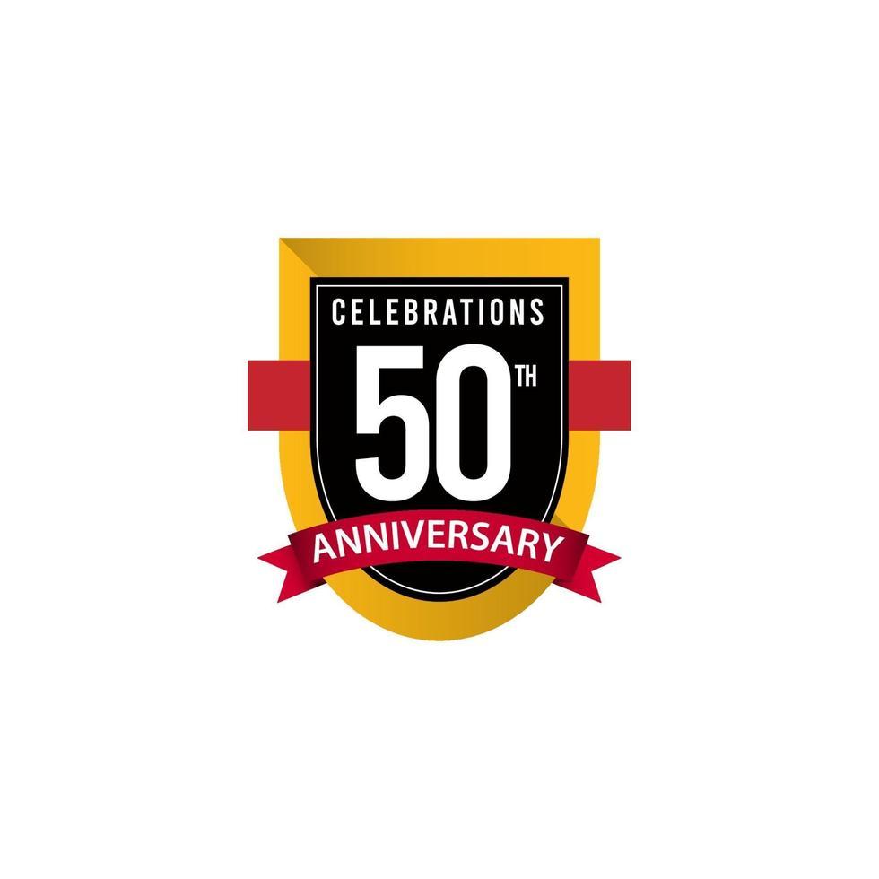 50 Th Anniversary Celebrations Gold Black White Vector Template Design Illustration