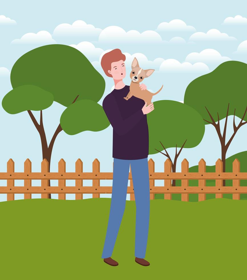 young man lifting cute dog mascot in the camp vector