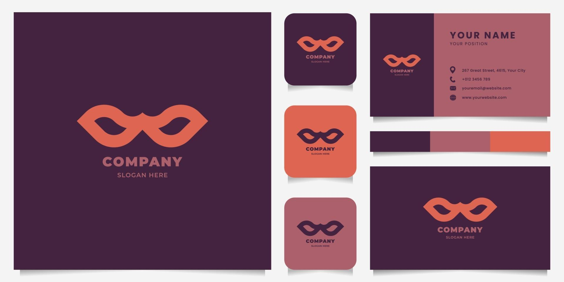 Simple and Minimalist Superhero Mask Logo with Business Card Template vector