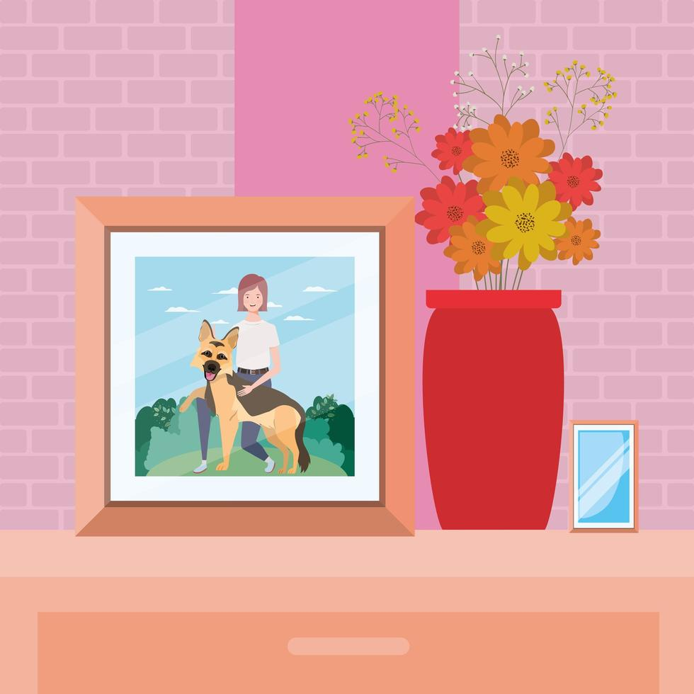 picture of woman with cute dog in the field vector