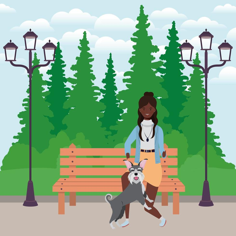 young afro woman with cute dog in the field vector