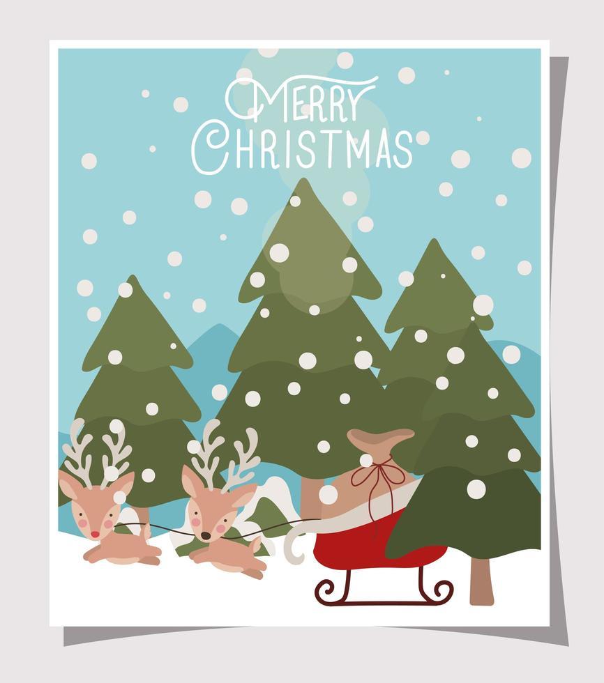 tarjeta de feliz navidad con renos y trineo vector