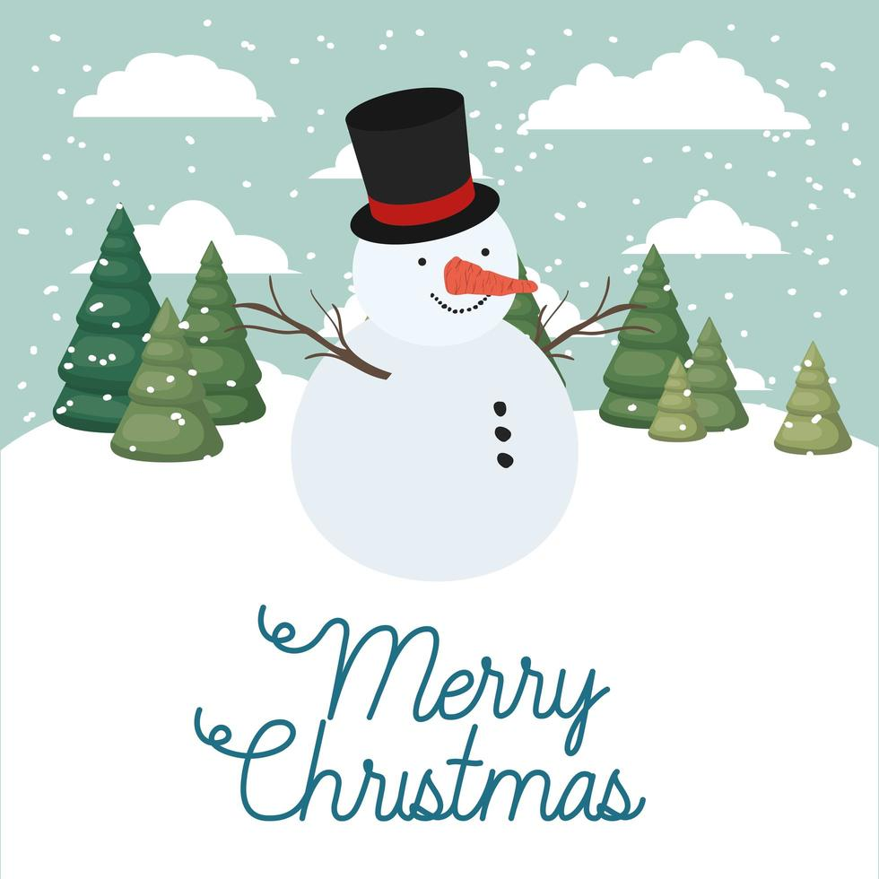 Merry Christmas card with snowman vector