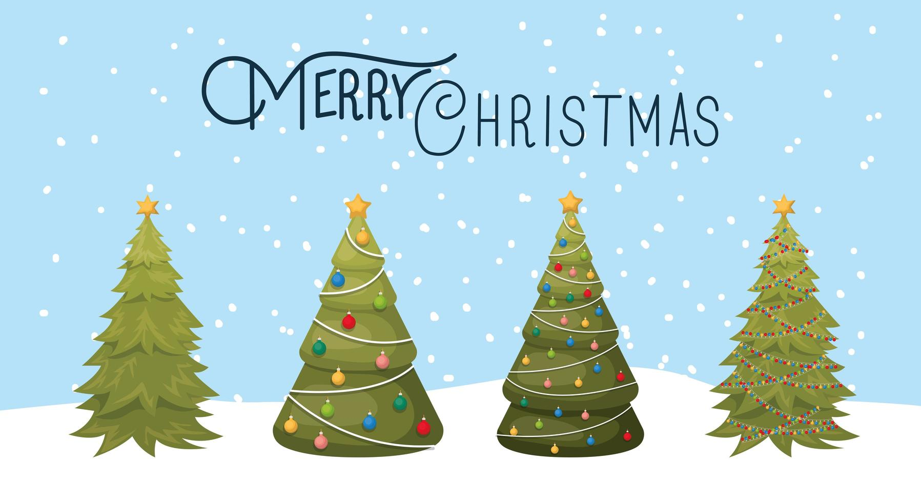 Cute Christmas pine trees vector