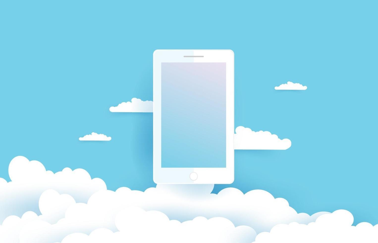 móvil y nubes en estilo de corte de papel. ilustración vectorial eps10. vector