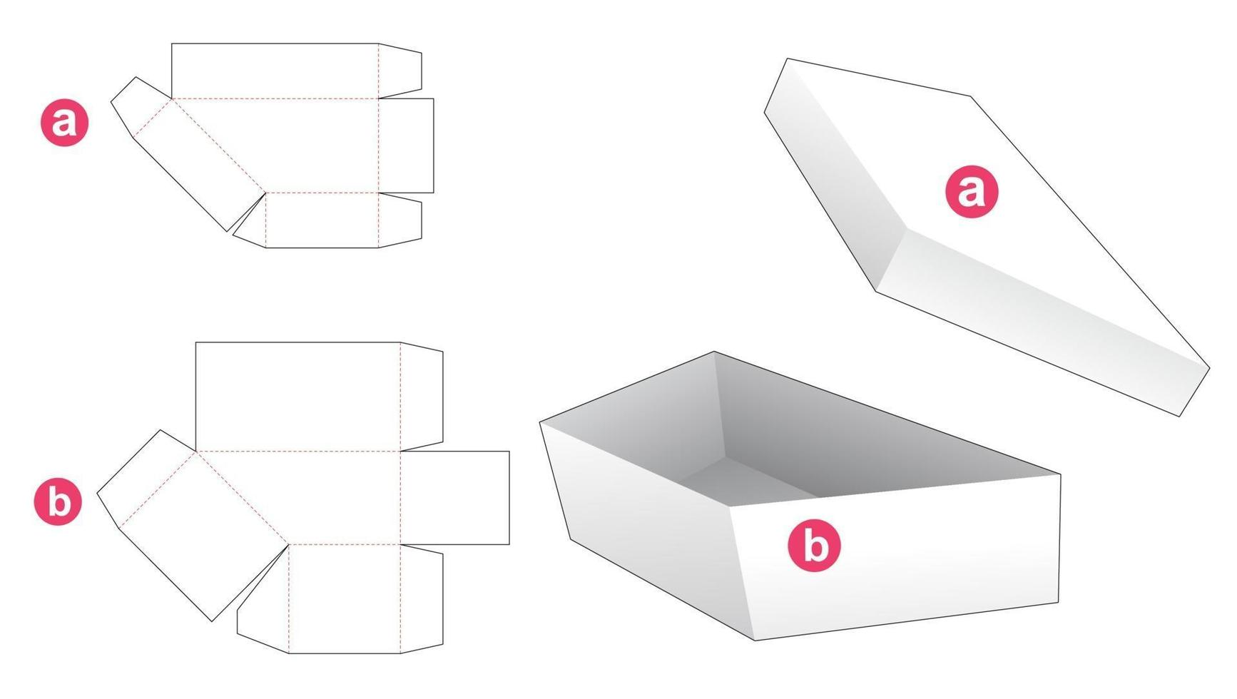 Simple trapezoid shaped box and lid die cut template vector