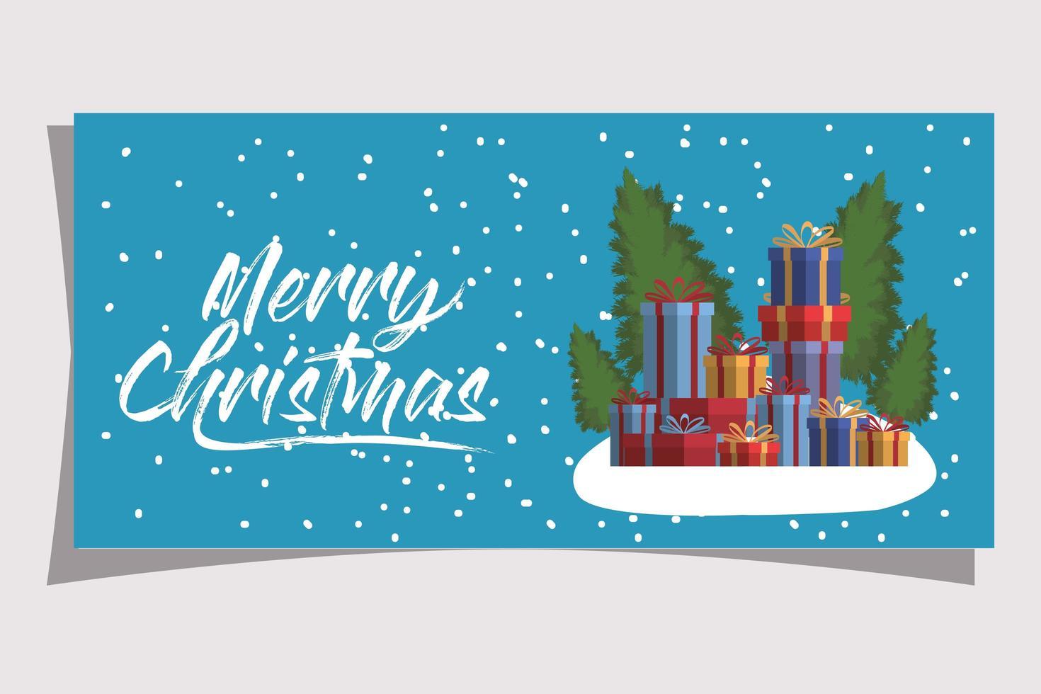tarjeta de feliz navidad con cajas de regalo vector